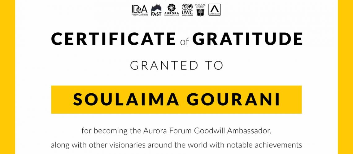 Certificate of Gratitude to Soulaima Gourani